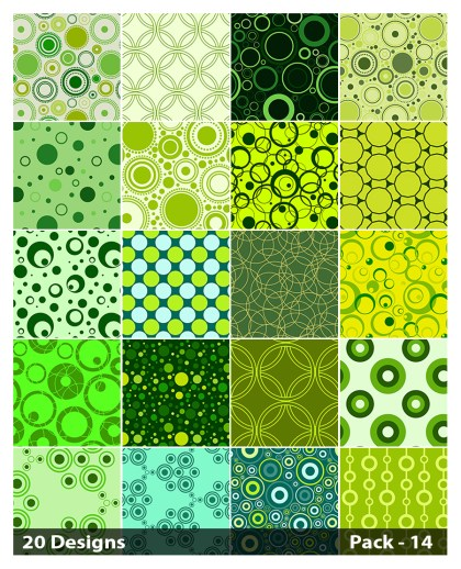 20 Green Geometric Circle Background Pattern Vector Pack 14