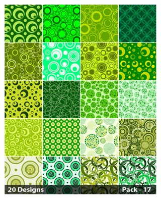20 Green Seamless Geometric Circle Background Pattern Vector Pack 17