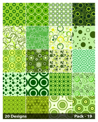 20 Green Seamless Circle Pattern Vector Pack 19