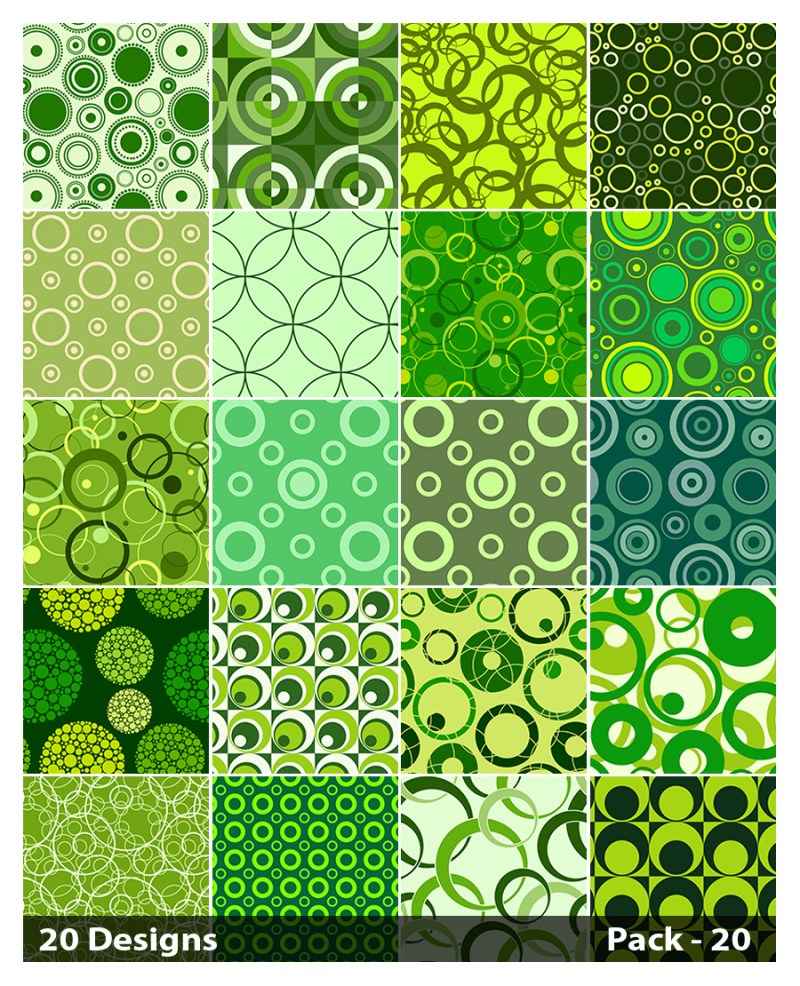 20 Green Circle Pattern Background Vector Pack 20