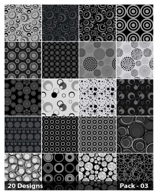 20 Black Circle Pattern Background Vector Pack 03