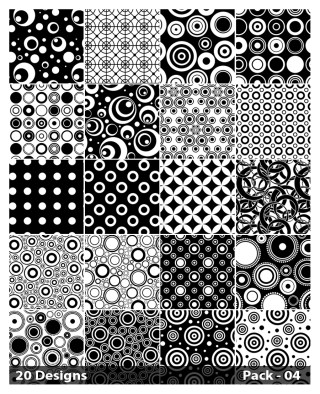 20 Black and White Circle Background Pattern Vector Pack 04