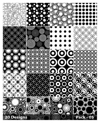 20 Black and White Seamless Circle Pattern Background Vector Pack 05