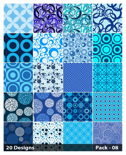 20 Blue Seamless Circle Pattern Vector Pack 08