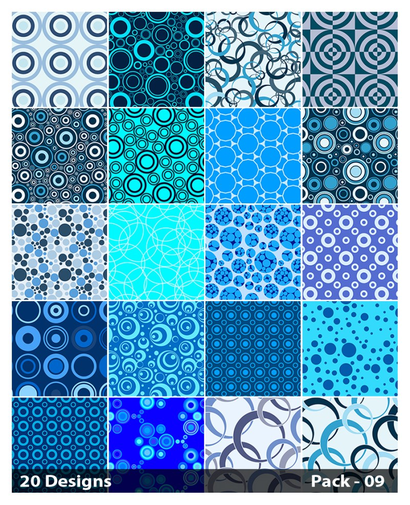 20 Blue Circle Pattern Background Vector Pack 09