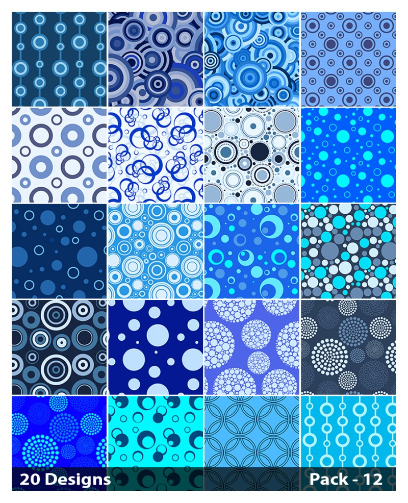 20 Blue Seamless Circle Background Pattern Vector Pack 12