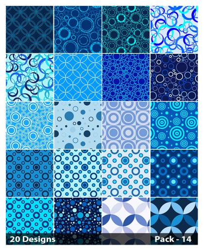 20 Blue Geometric Circle Pattern Background Vector Pack 14