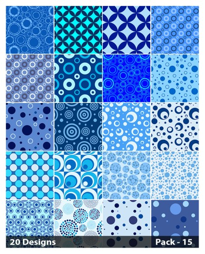 20 Blue Geometric Circle Background Pattern Vector Pack 15