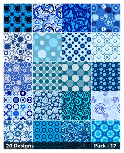 20 Blue Seamless Geometric Circle Pattern Background Vector Pack 17