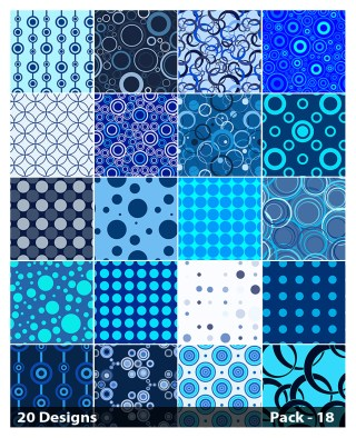 20 Blue Seamless Geometric Circle Background Pattern Vector Pack 18