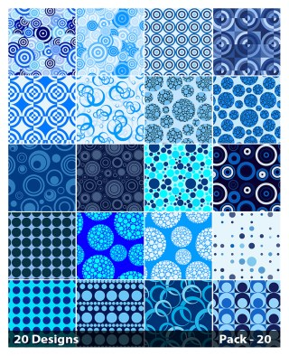 20 Blue Seamless Circle Pattern Vector Pack 20