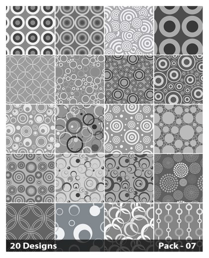 20 Grey Seamless Circle Pattern Vector Pack 07