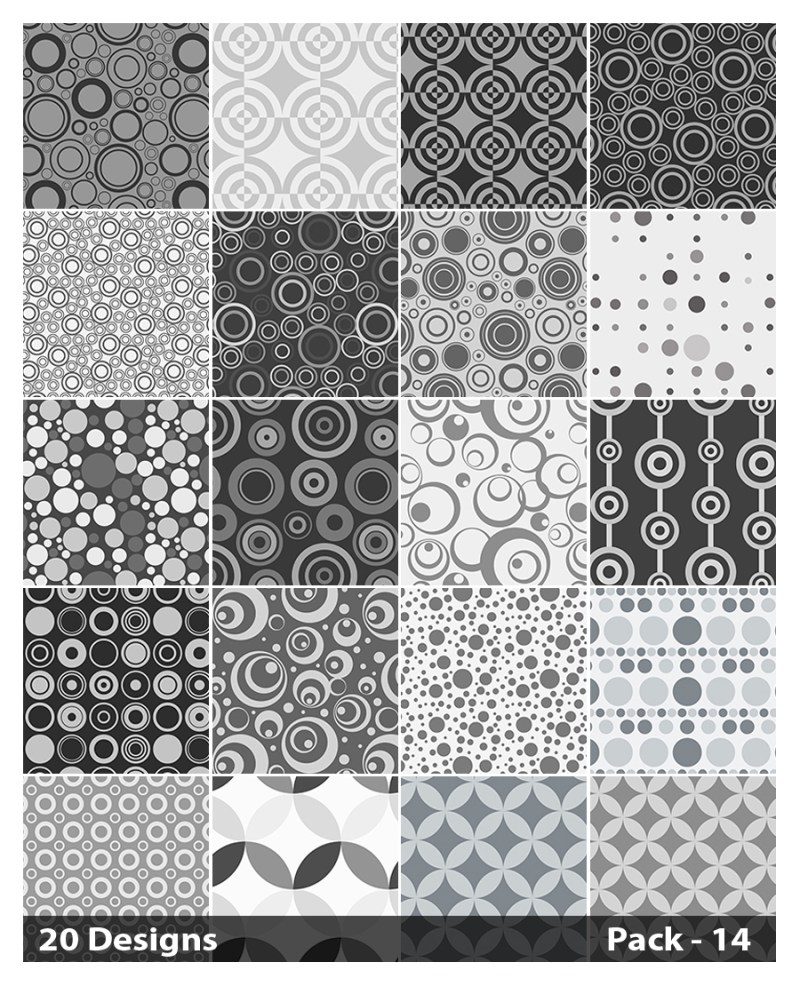 20 Grey Geometric Circle Background Pattern Vector Pack 14