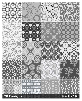 20 Grey Seamless Geometric Circle Pattern Background Vector Pack 16