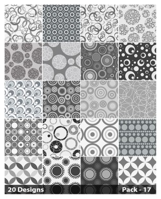 20 Grey Seamless Geometric Circle Background Pattern Vector Pack 17
