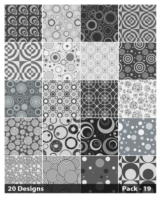 20 Grey Seamless Circle Pattern Vector Pack 19