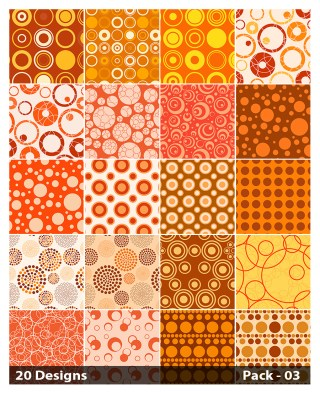 20 Orange Circle Pattern Background Vector Pack 03