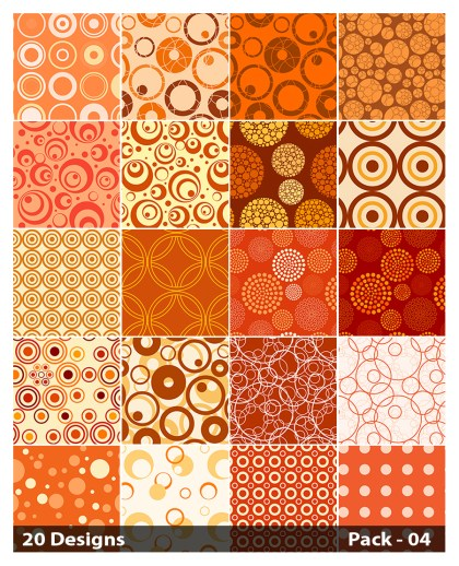 20 Orange Circle Background Pattern Vector Pack 04