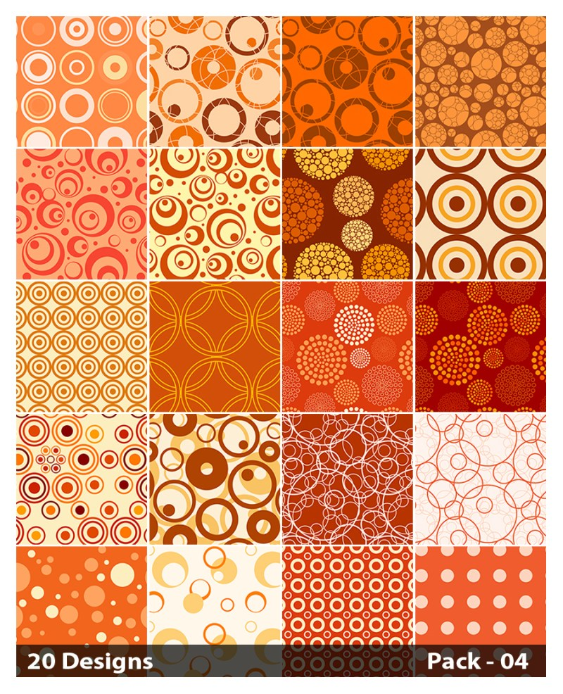 20 Orange Circle Background Pattern Vector Pack 04