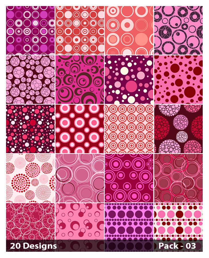 20 Pink Circle Pattern Background Vector Pack 03