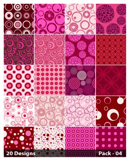 20 Pink Circle Background Pattern Vector Pack 04