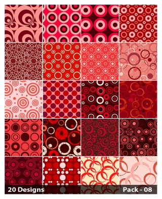 20 Red Seamless Circle Pattern Vector Pack 08