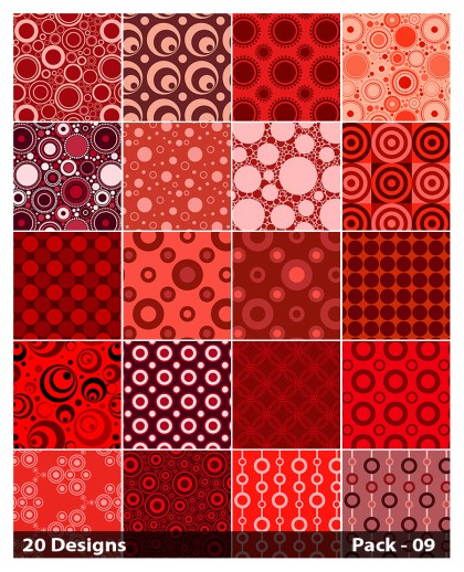 20 Red Circle Pattern Background Vector Pack 09