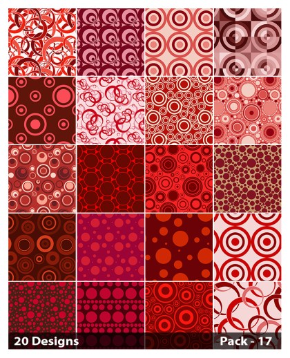 20 Red Seamless Geometric Circle Pattern Background Vector Pack 17