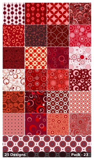 25 Red Seamless Circle Pattern Background Vector Pack 23