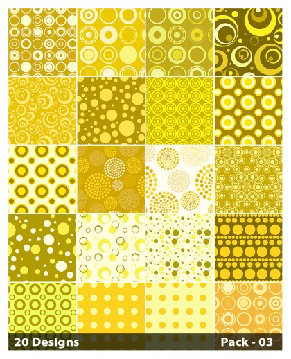20 Yellow Circle Pattern Background Vector Pack 03