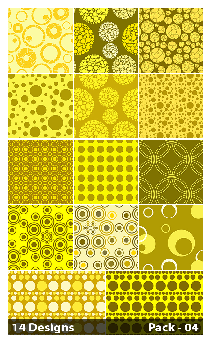 14 Yellow Circle Background Pattern Vector Pack 04