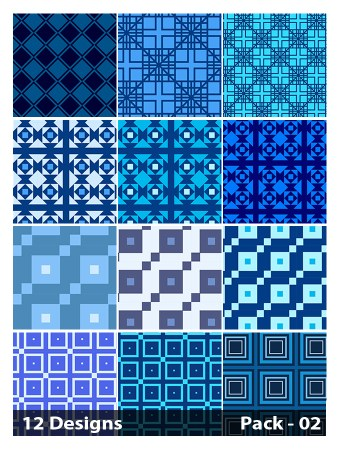 12 Blue Seamless Square Pattern Vector Pack 02