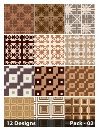 12 Brown Seamless Square Pattern Vector Pack 02