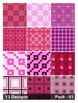 12 Pink Seamless Square Pattern Vector Pack 02