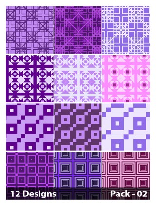 12 Purple Seamless Square Pattern Vector Pack 02