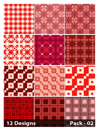 12 Red Seamless Square Pattern Vector Pack 02