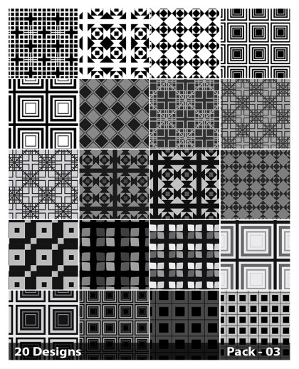 20 Black Square Pattern Background Vector Pack 03