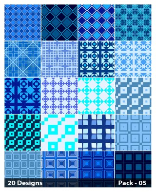 20 Blue Square Background Pattern Vector Pack 05