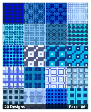 20 Blue Seamless Square Background Pattern Vector Pack 06