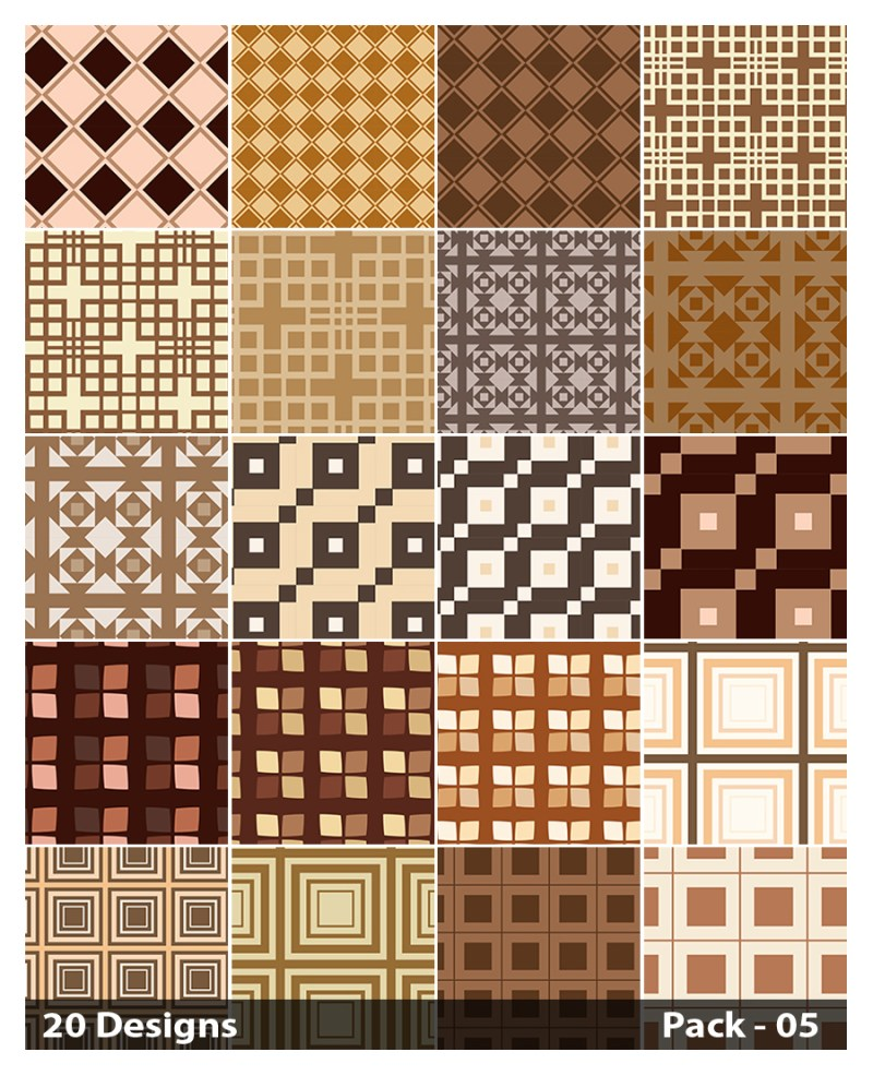 20 Brown Square Background Pattern Vector Pack 05