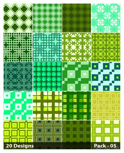 20 Green Square Background Pattern Vector Pack 05