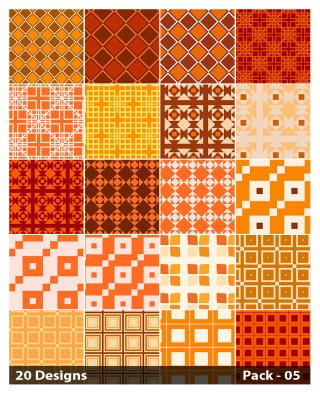 20 Orange Square Background Pattern Vector Pack 05