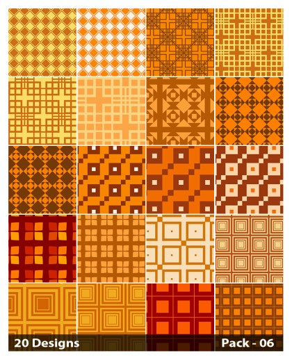 20 Orange Seamless Square Background Pattern Vector Pack 06