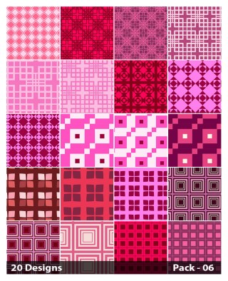 20 Pink Seamless Square Background Pattern Vector Pack 06