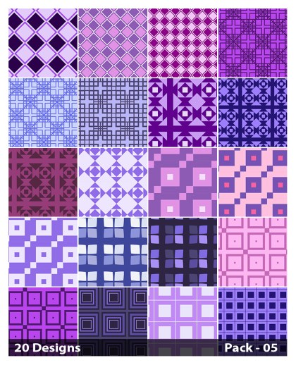 20 Purple Square Background Pattern Vector Pack 05
