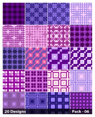 20 Purple Seamless Square Background Pattern Vector Pack 06