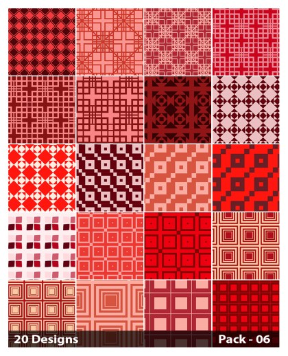 20 Red Seamless Square Background Pattern Vector Pack 06