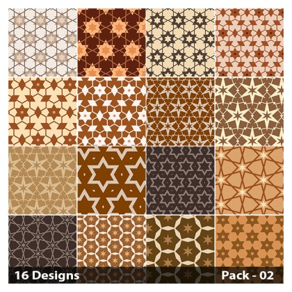 16 Brown Seamless Star Pattern Vector Pack 02