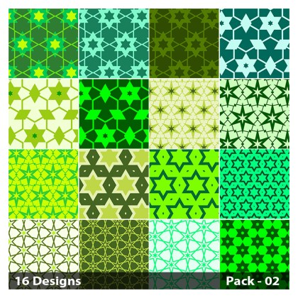16 Green Seamless Star Pattern Vector Pack 02