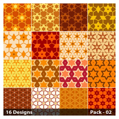 16 Orange Seamless Star Pattern Vector Pack 02